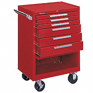"Red Rolling Cabinet, Industrial, Width: 27"", Depth: 18"", Height: 39"""