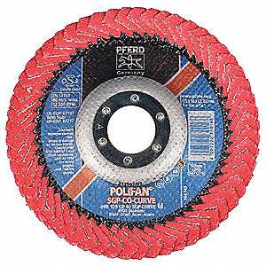 "5"" Flap Disc, Radial, Ceramic, 60 Grit, 7/8"" Mounting Size, SGP CURVE 5/8"" Thickness"