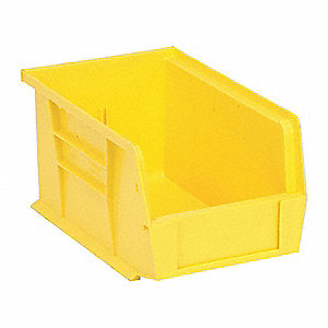 "Hang and Stack Bin, Yellow, 9-1/4"" Outside Length, 6"" Outside Width, 5"" Outside Height"