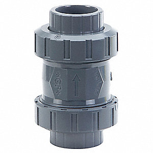 "3/8"" Check Valve, PVC and EPDM, Socket/Threaded Connection Type"