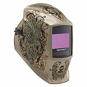 Welding Helmet, Gold With Skull, Digital Elite
