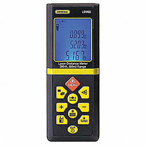 "Laser Distance Meter, ±1/16"" Accuracy, 200 ft. Range"