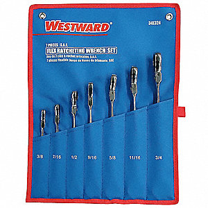 Ratcheting Wrench Set, Double Box End, Twist Handle, SAE, Number of Pieces: 7