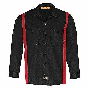 Dickies work shirt long sleeve black red xlt 35kv51 for Black long sleeve work shirt