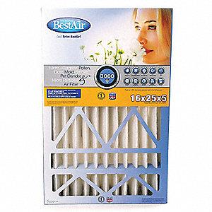 BESTAIR PRO Furnace Air Filter,25x16x5,MERV 13,PK2, CB1625-1