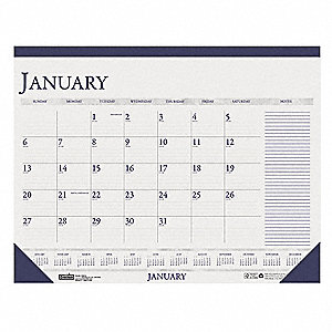 Dated Monthly Desk Calendar,18-1/2x13 In