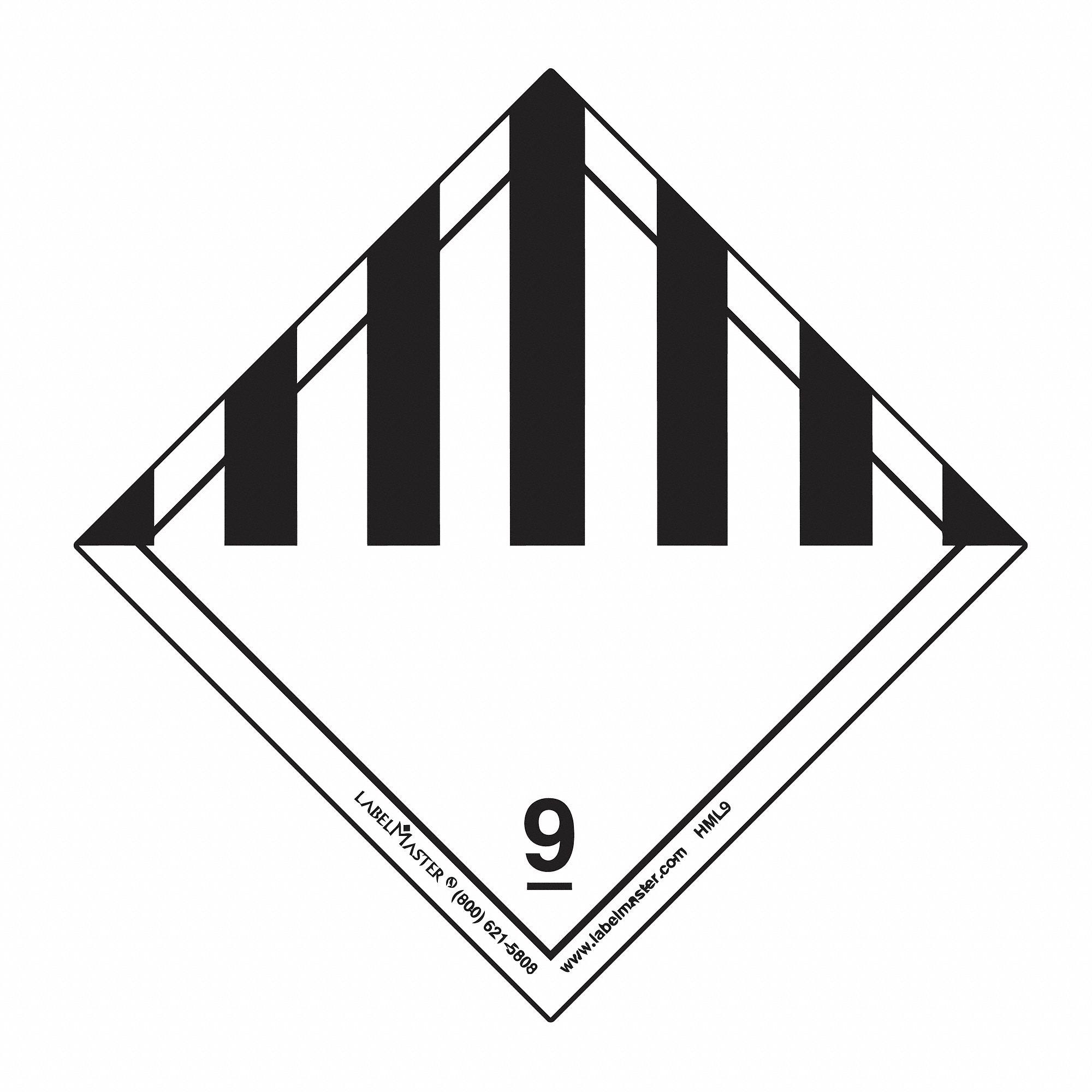labelmaster polypropylene miscellaneous dangerous goods label  100mm width  100mm height