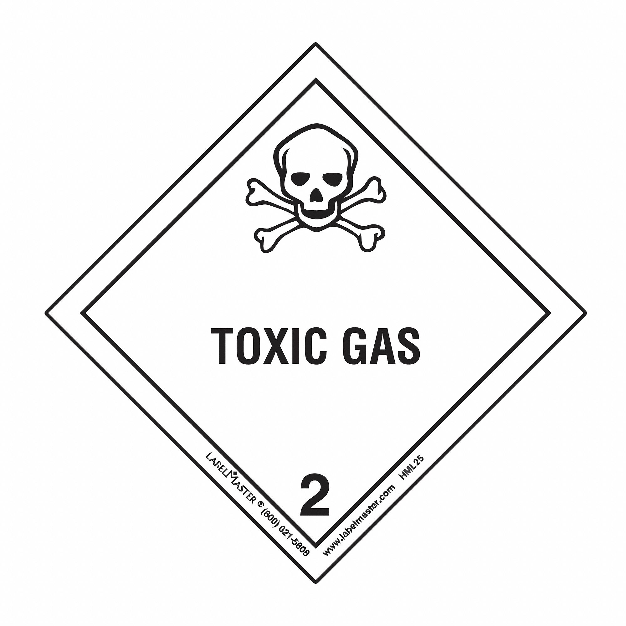 labelmaster toxic gas label  100mmx100mm  paper  500