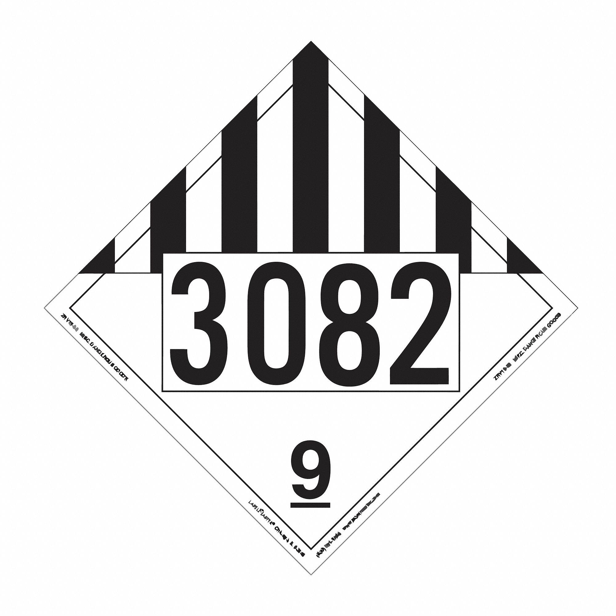 labelmaster vinyl  miscellaneous dangerous goods placard  10-3  4 u0026quot  width  10-3  4 u0026quot  height