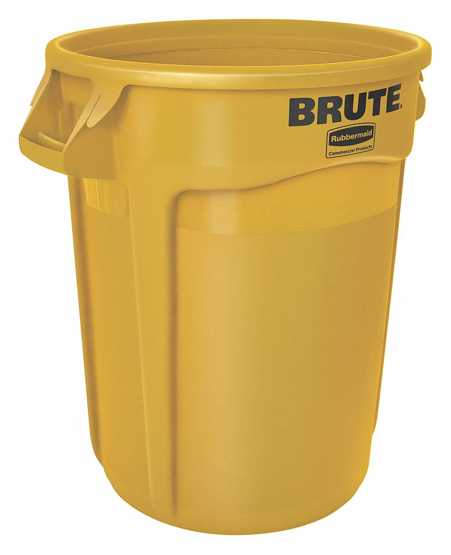 Small Trash Can Rubbermaid: RUBBERMAID 20 Gal., Round, Trash Can, Plastic, Yellow