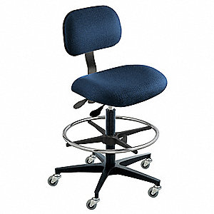 "Navy Ergonomic Chair, 22 to 32"" Seat Height Range, Cloth"
