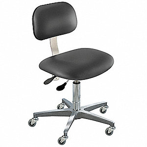 "Black Ergonomic Chair, 17 to 22"" Seat Height Range, Upholstered Vinyl"