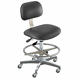 "Black Ergonomic Chair, 22 to 32"" Seat Height Range, Upholstered Vinyl"