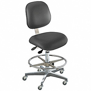 "Black Ergonomic Chair, 19 to 26"" Seat Height Range, Upholstered Vinyl"