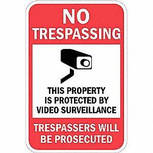 Property Sign,No Trespass,18 x 12 In