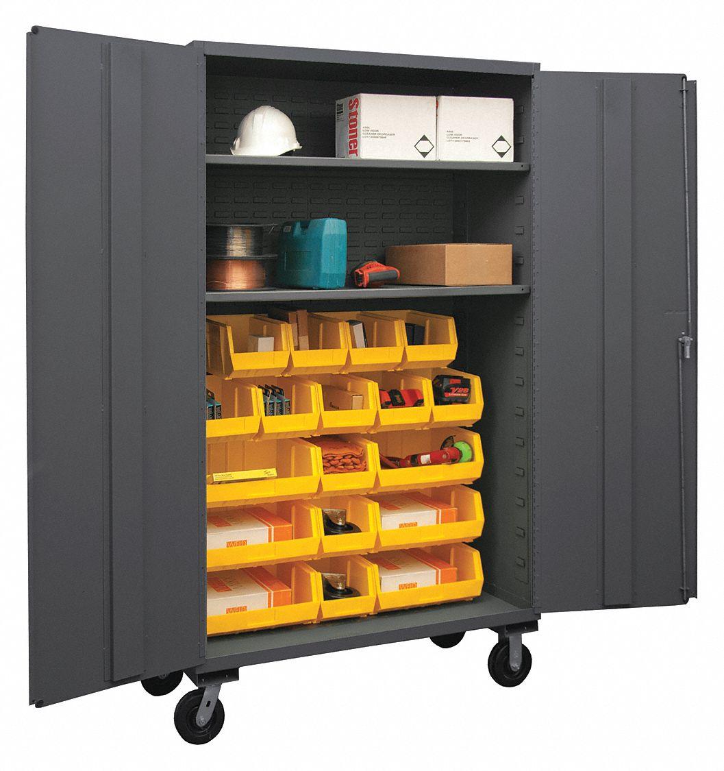 Durham Bin Cabinet Mobile 14ga 18bins Yellow 36ez52