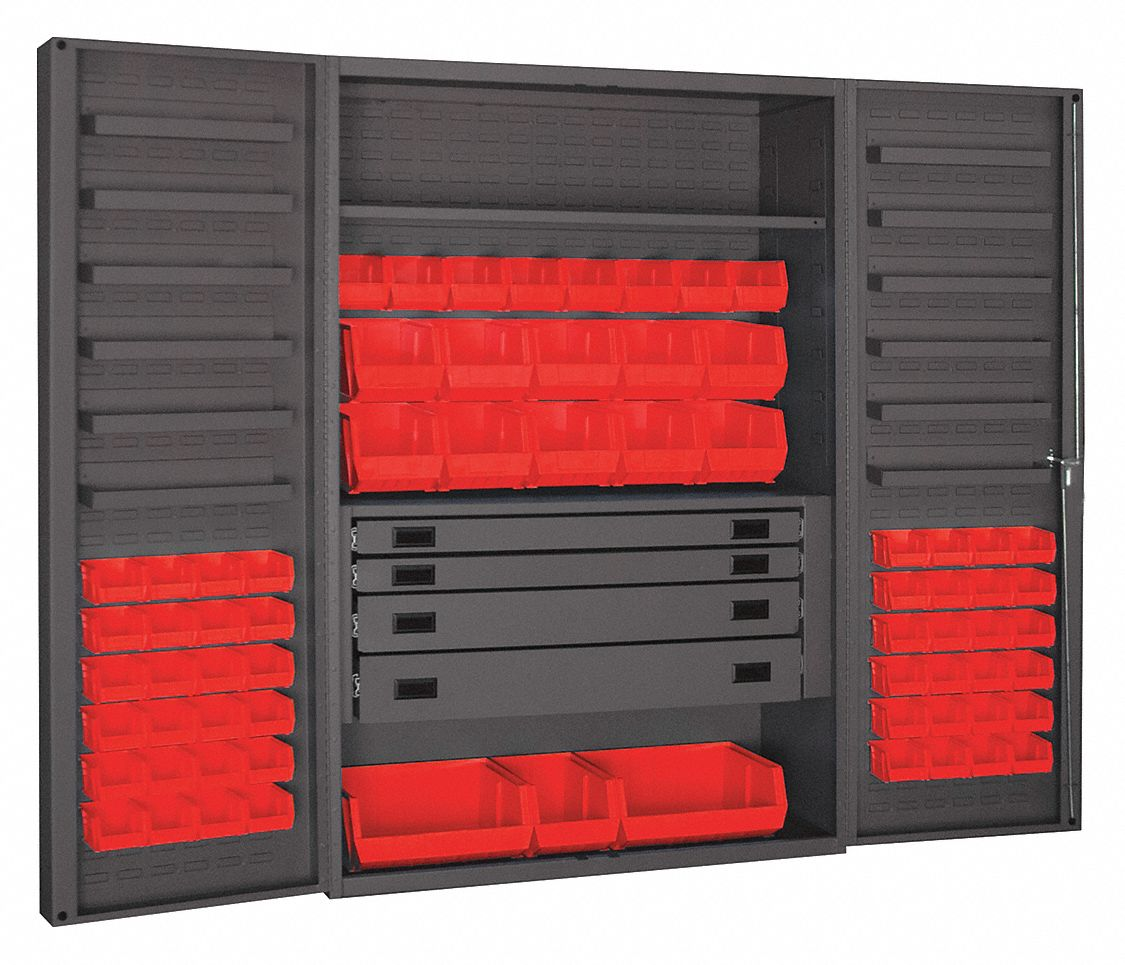 Durham Bin Cabinet Ind 14ga 69bins Red 72inh 36fc25