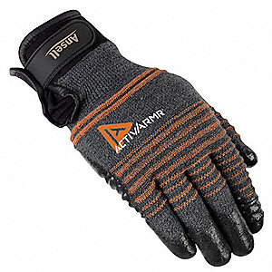 Nitrile, Cut Resistant Gloves, Kevlar®, Stainless Steel Lining, Gray/Black, M, PR 1