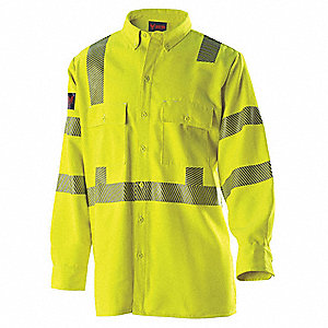 "Hi-Viz Yellow Flame-Resistant Collared Shirt, Size: M, Fits Chest Size: 45-1/2"", ATPV - 12.1 ATPV Ra"