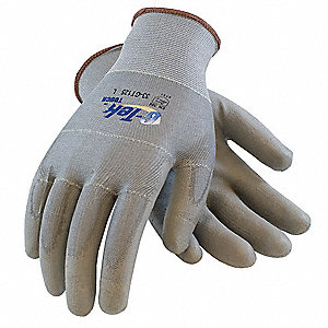 Touch Screen Mechanics Gloves, Polyurethane/Polyester Palm Material, Gray, L, PR 1
