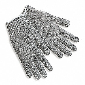 Gray Heavy Weight String Knit Gloves, Polyester/Cotton, Size Men's L, 7 Gauge