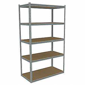 "Gray Boltless Shelving Starter Unit, 84"" Height, 48"" Width, Number of Shelves 5"