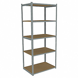 "Gray Boltless Shelving Starter Unit, 84"" Height, 36"" Width, Number of Shelves 5"