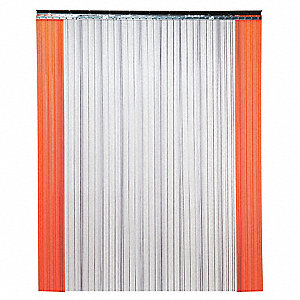 Industrial PVC Strip Door, Low-Temp Ribbed Strip Type, 8 ft. Opening Width, 10 ft. Opening Height