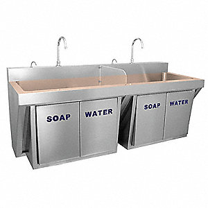 Stainless Steel Scrub Sink, With Faucet, Wall Mounting Type, Copper