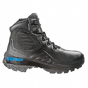 "6""H Men's Boots, Plain Toe Type, Water Proof Leather/ Nylon Upper Material, Black, Size 14"
