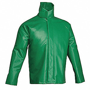 "Men's Green PVC Chemical Splash Jacket, Size M, Fits Chest Size 38"" to 40"""