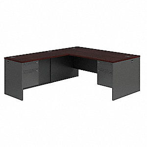 L-Shape Office Desk,Right,Mahogny/Charcl