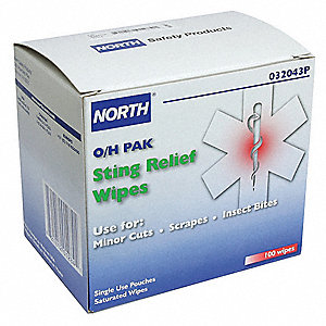 "Sting Relief Wipes, 5-3/4"" Box"