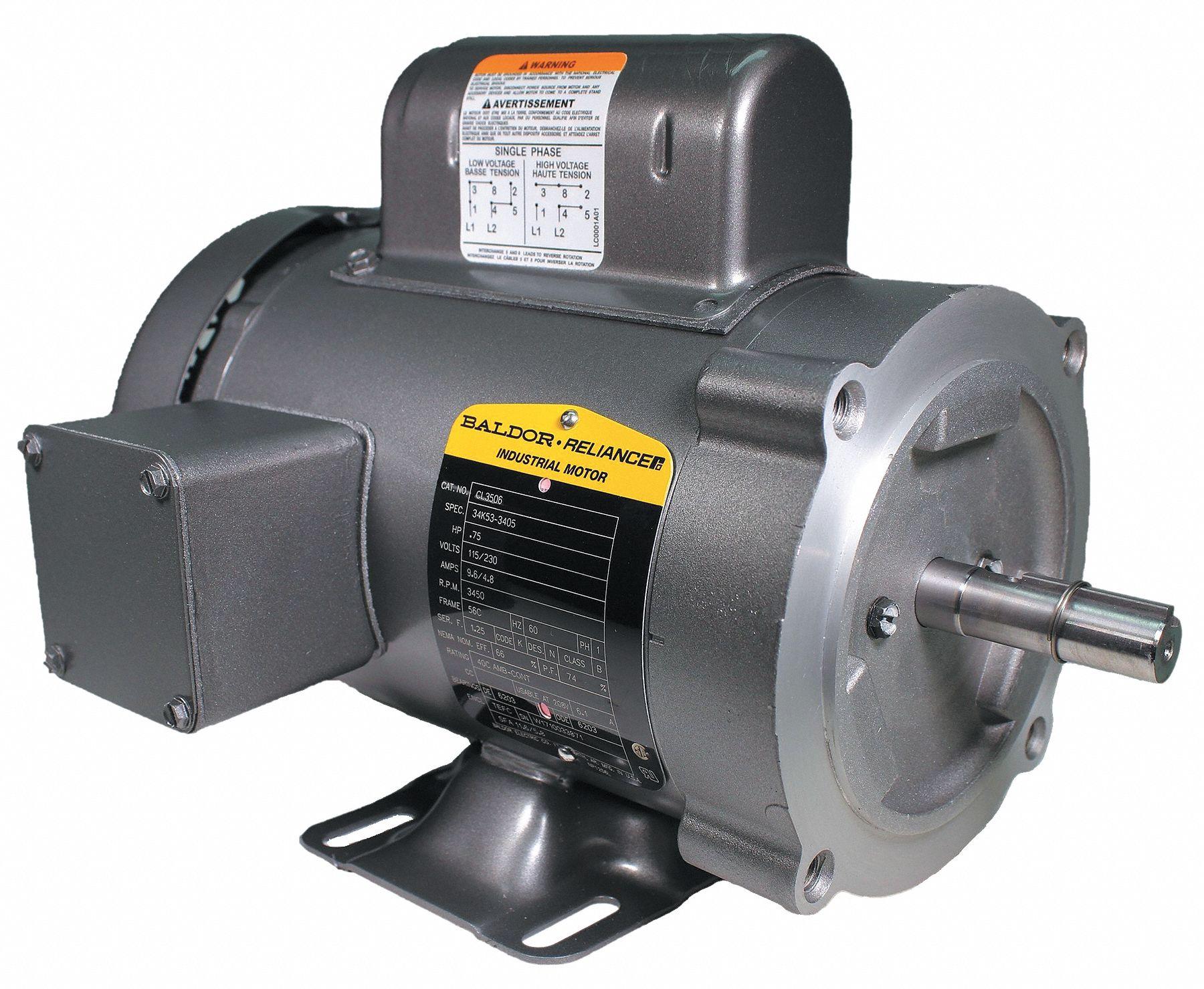 Baldor Electric Motor 3 4 Hp 3450 Rpm 115 230v 56c Tefc