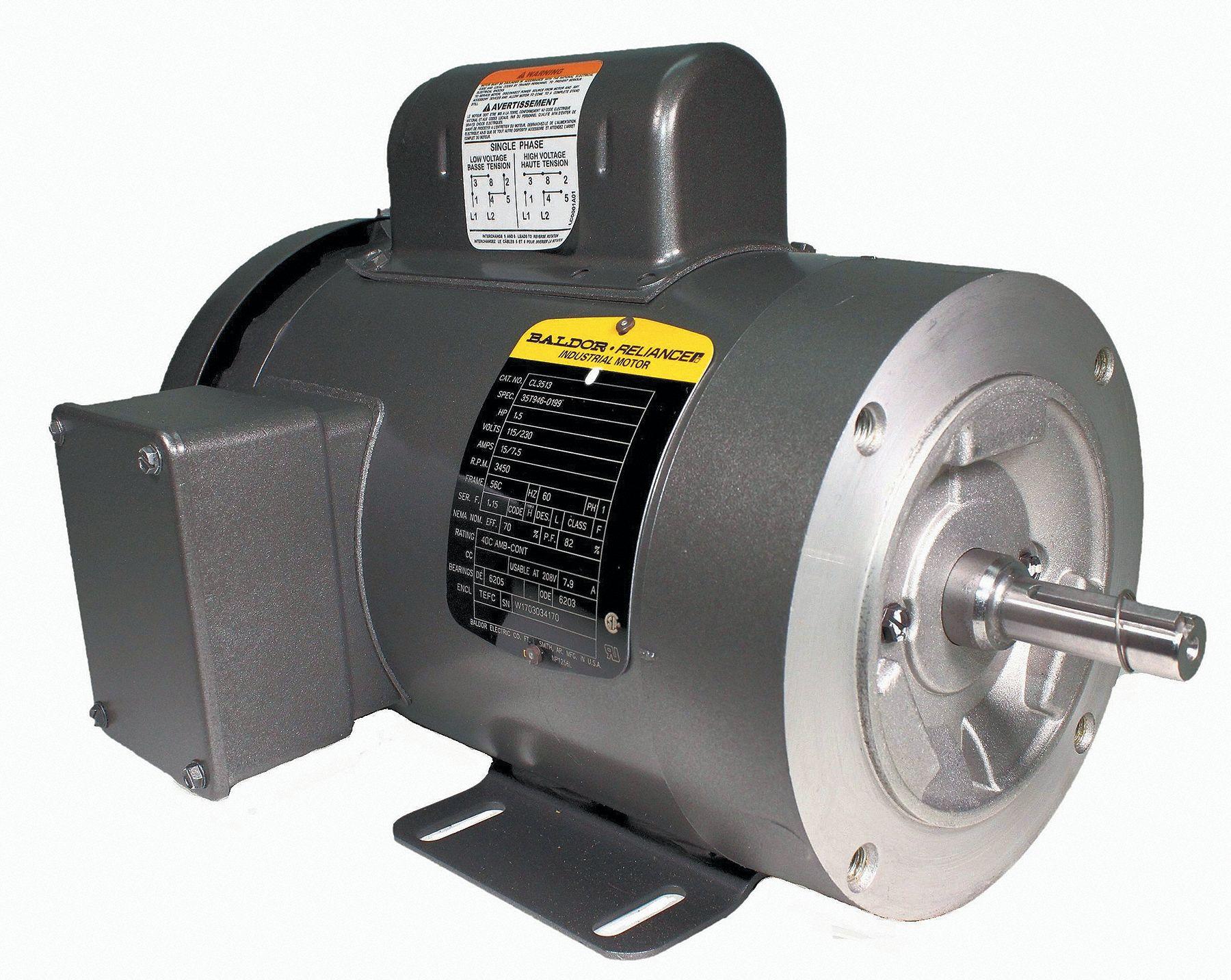 Baldor Electric Motor 1 1 2 Hp 3450 Rpm 115 230v 56c
