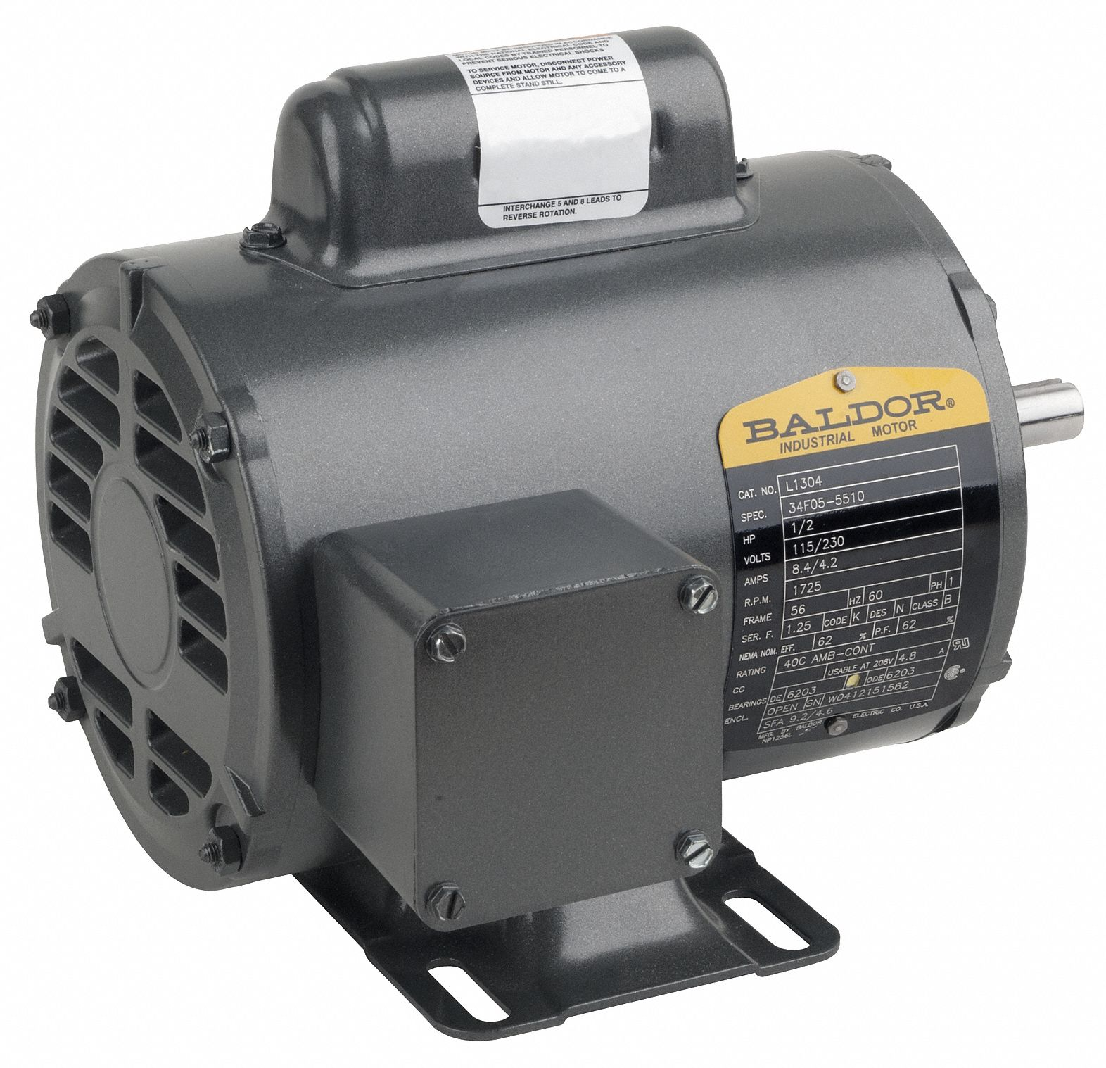 BALDOR ELECTRIC 10 HP General Purpose Motor,Capacitor ...