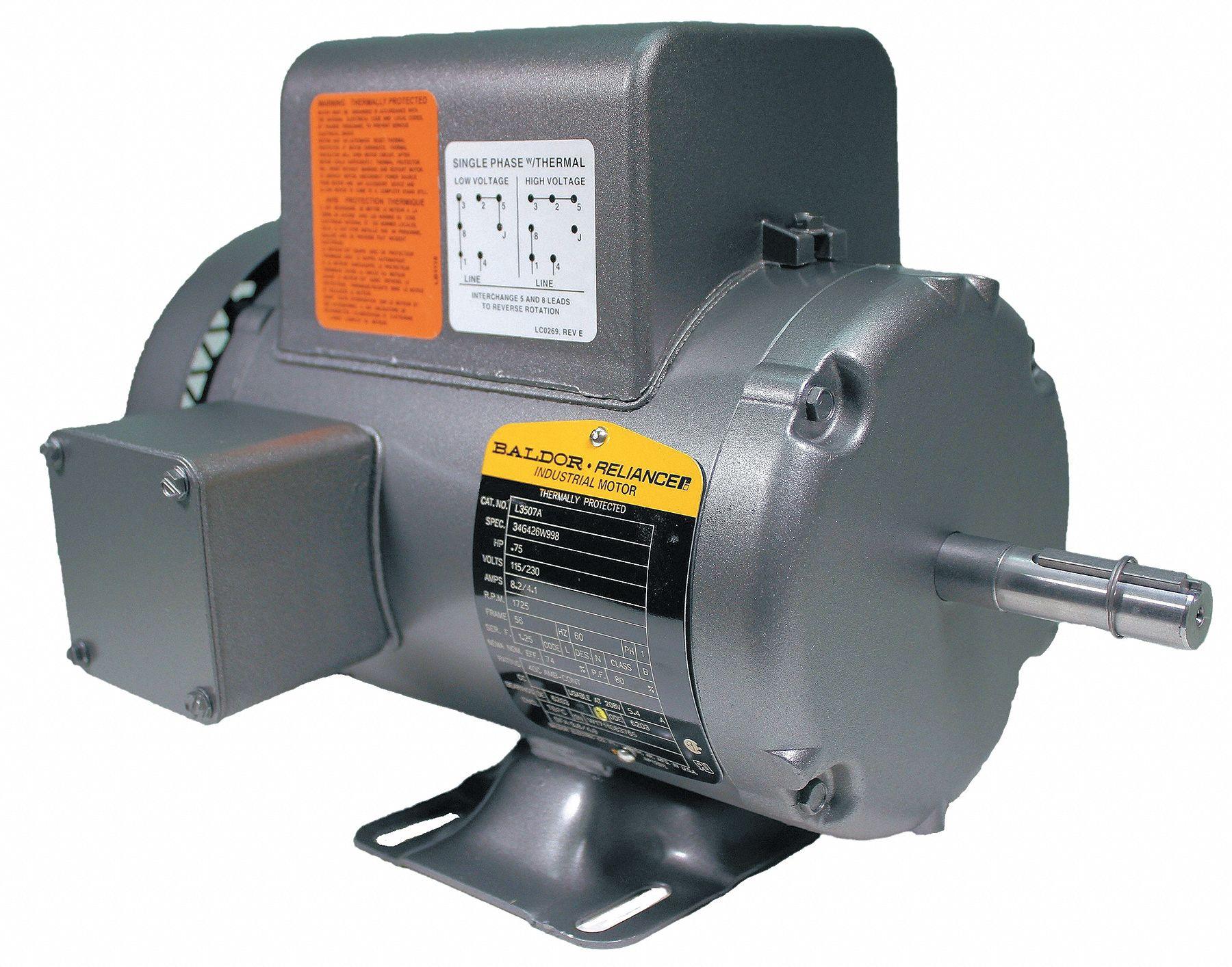 Baldor Electric Motor 3 4 Hp 1725 Rpm 115 230v 56 Tefc