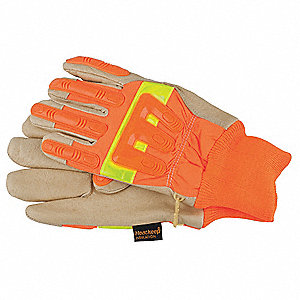 Cold Protection Gloves, Waterproof/Thermal Lining, Knit Cuff, Hi Viz Tan/Orange, 2XL, PR 1
