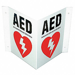 Safety Sign,AED,V-Shaped,10x8 In.