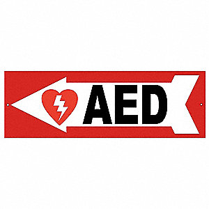 Safety Sign,AED,Left Arrow,4x12 In.
