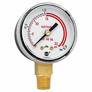 "Pressure Gauge, Welding Regulator Gauge Type, 0 to 30 psi, 0 to 2 Bar Range, 2"" Dial Size"