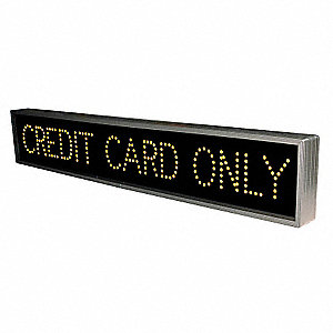 Credit Card Only LED Parking Sign, Amber LED Color, Power Requirements: 120V