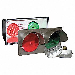 Horiz Traffic Signal,Red/Grn,3-7/8 x14x7
