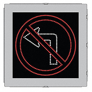 No Left Turn LED Compliant Regulatory Traffic Sign, Red/White LED Color, Power Requirements: 120V