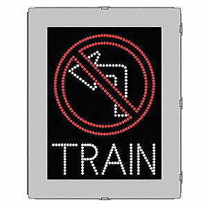 No Left Turn/Train LED Compliant At-Grade Rail Sign, Red/White LED Color, Power Requirements: 120V