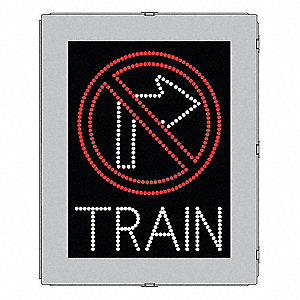 No Right Turn/Train LED Compliant At-Grade Rail Sign, Red/White LED Color, Power Requirements: 120V