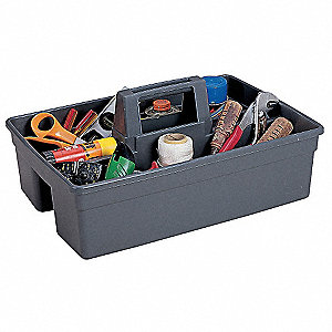 Synthetic Tool Caddy, General Purpose, Number of Pockets: 2, Gray