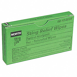 "Sting Relief Wipes, Application: Bite Relief, Size: 1-1/8"" x 2-3/4"", Packet Package Type"