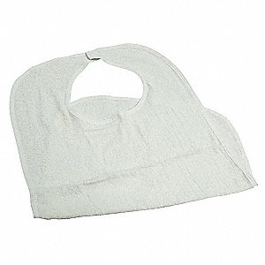 "Terry Bib, White, 100% Cotton, Hook and Loop, 18"" x 30"", 12 PK"