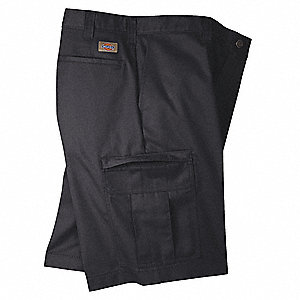 "Black Cargo Shorts, Poly/Cotton Twill, Fits Waist Size 34"", Inseam 11"""